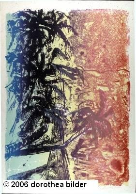 Palm Tree with Beach -- Original Stone Lithograph Dorothea Bilder 39 s