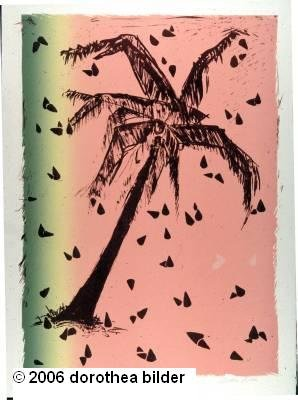Palm Tree with Watermelon -- Original Signed Lithograph LE Dorothea Bilder 37 s