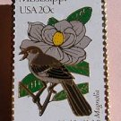 Mississippi MS Mockingbird Magnolia stamp pin lapel 1976 s