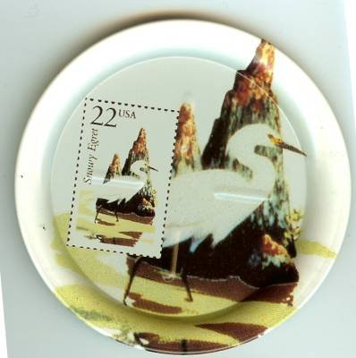 Snowy Egret stamp coasters wildlife lot of four