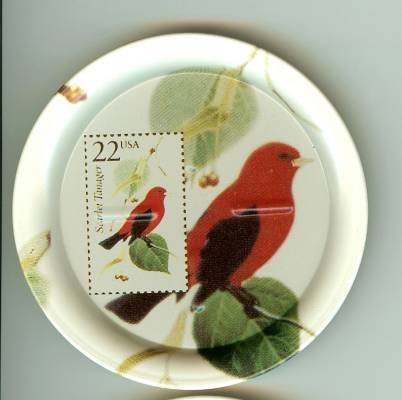 Scarlet Tanager stamp coasters wildlife lot of four
