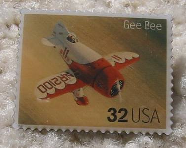 Gee Bee Classic Aircraft Plane stamp pin lapel 3142i s