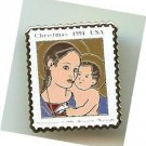 Madonna Child Antoniazzo Romano stamp pin lapel 2578