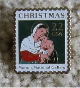Madonna Child Moroni stamp pin lapel pins hat 2367