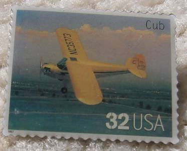 Cub Classic Aircraft Plane stamp pin lapel pins 3142c s