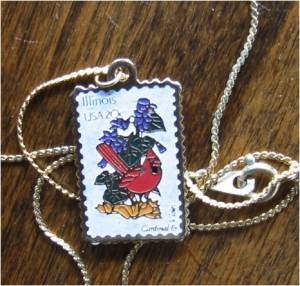 Illinois Cardinal Violet stamp necklace 1965n