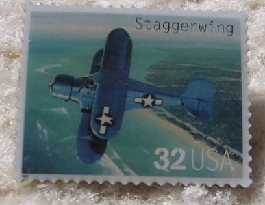 Staggerwing Classic Aircraft stamp pin lapel 3142J s