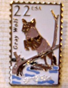 Gray Wolf stamp pin tie tac lapel pins hat new 2322