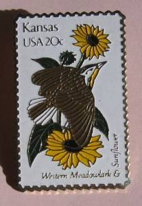 Kansas Western Meadowlark Sunflower stamp pin hat 1968 S