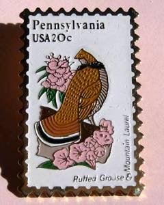 Pennsylvania Ruffed Grouse Mt. Laurel stamp pin PA 1990 S