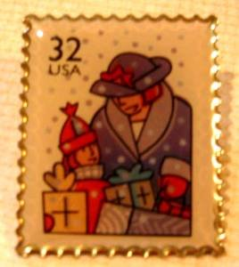 Holiday Shopping Christmas Stamp Pin hat lapel new 3111 s