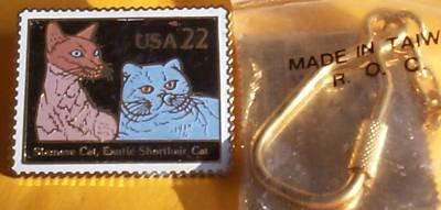 Siamese Shorthair Cat Stamp Keychain cloisonne 2372kc S