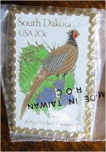 Ring-Necked Pheasant SD Pasqueflower stamp pin hat 1993