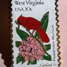 West Virginia Cardinal Rhododendron stamp pin hat 2000