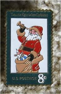 Santa Claus 1972 Christmas Stamp pin . lapel pins 1472