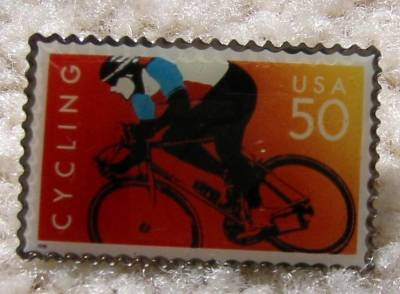Red Cycling Bicycling stamp pin lapel pins hat 3119r s