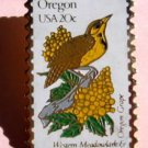 Oregon Western Meadowlark Grape stamp pin hat pins 1989 S