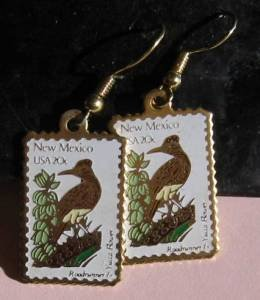 New Mexico Roadrunner Yucca NM stamp earrings 1983ew