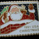 Santa Claus Chimney stamp pin lapel pins hat 2580 new