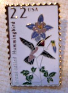 Broad-tailed Hummingbird stamp pin lapel pins tie tac 2289