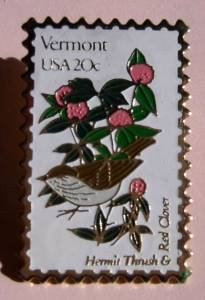 Vermont Hermit Thrush Red Clover stamp pin lapel 1997