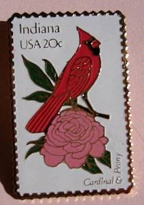 Indiana Cardinal Peony bird stamp pin lapel pins 1966 s