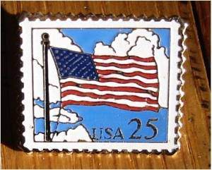 American Flag w/ clouds stamp pin lapel pins hat 2278 s
