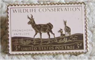 Pronghorn Antelope stamp pin tie tac lapel hat 1078