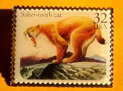 Saber-tooth Cat Ice Age Stamp pin lapel pins hat 3080 S