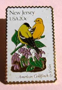 New Jersey American Goldfinch Violet stamp pin hat 1982 S