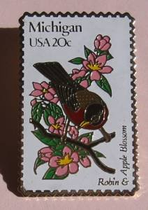 Michigan Robin Apple Blossom bird stamp pin lapel 1974 s