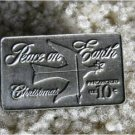 PEACE ON EARTH Pewter Christmas Stamp Pin lapel 1552