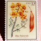 Blue Paloverde Flowering Trees Stamp Pin lapel 3194