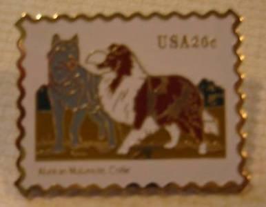 Malamute Collie stamp pin lapel cloisonné hat 2100s