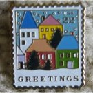 Christmas Village Scene Stamp Pin lapel pins hat 2245
