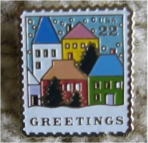 Christmas Village Scene Stamp Pin lapel pins hat 2245
