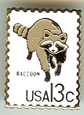 Raccoon CAPEX stamp pin lapel pins hat tie tac 1757h