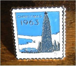 Christmas Tree White House stamp pin lapel pins 1240