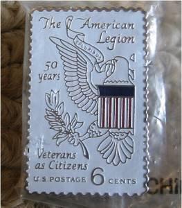 American Legion cloisonne stamp pin hat lapel 1369