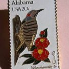 Alabama Yellowhammer Camellia stamp pin tie tac 1953