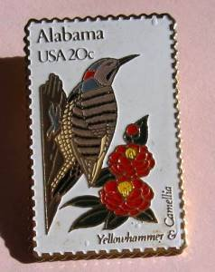 Alabama Yellowhammer Camellia stamp pin tie tac 1953