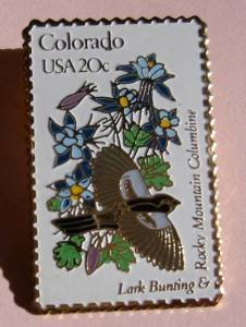Colorado Lark Bunting Columbine CO stamp pin lapel 1958