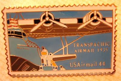 Transpacific Airmail stamp pin lapel pins tie tac hat c115