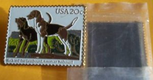 Coonhound Foxhound Dog Stamp cloisonne magnet 2101mg