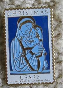 Mary Child Madonna Luoa della Robbia Stamp pin 2165