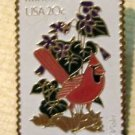 IL Illinois Cardinal Violet Stamp pins lapel pin 1965