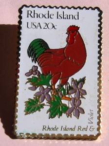 Rhode Island Red Rooster Violet stamp pins lapel pin RI 1991 S