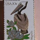 Louisiana Brown Pelican Magnolia stamp pins lapel pin 1970