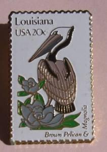 Louisiana Brown Pelican Magnolia stamp pins lapel pin 1970