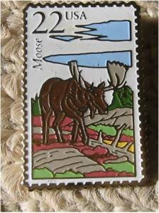 Wildlife Moose Stamp pin lapel pins hat 2298 s